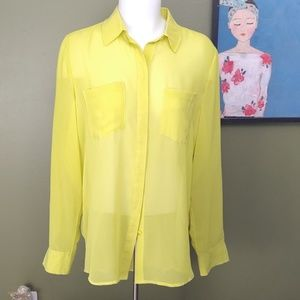 Slime green size 10 button up blouse R&R